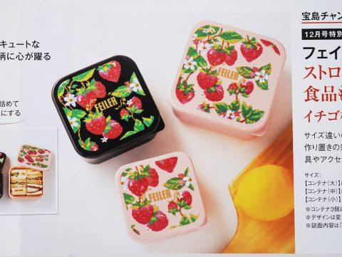 【次号予告】InRed(インレッド)2021年12月号宝島チャンネル限定号《特別付録》フェイラー ストロベリーフィールド 食品も雑貨も入れられる イチゴ柄コンテナ3個セット